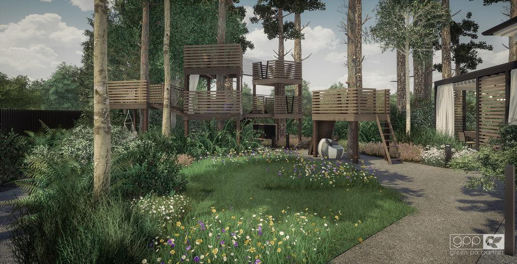 ogród pod lasem - domek na drzewie