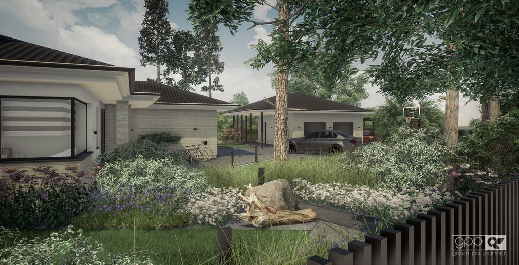 ogród pod lasem - ogród frontowy 1